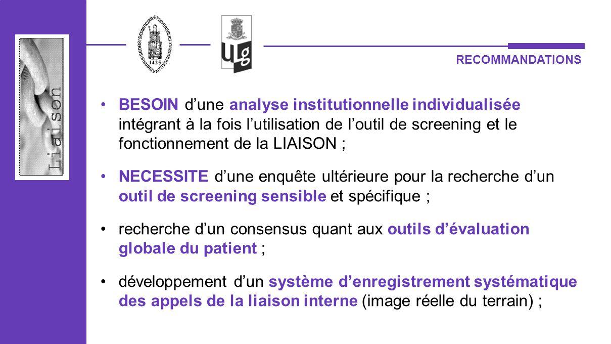 BESOIN dune analyse institutionnelle individualisée intégrant à la fois lutilisation de loutil de screening et le fonctionnement de la LIAISON ; NECES