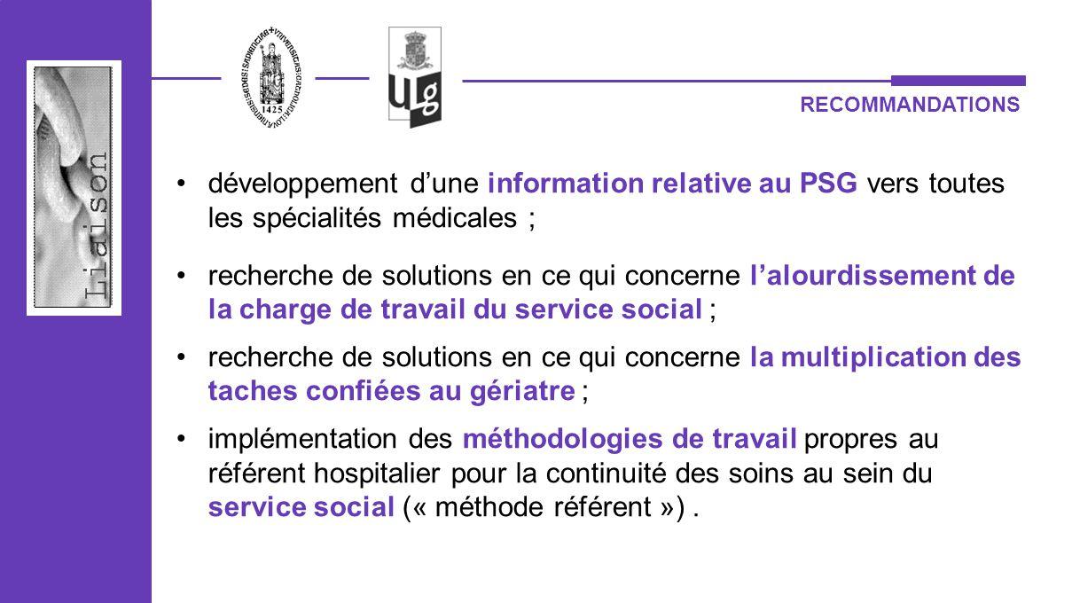 RECOMMANDATIONS développement dune information relative au PSG vers toutes les spécialités médicales ; recherche de solutions en ce qui concerne lalou