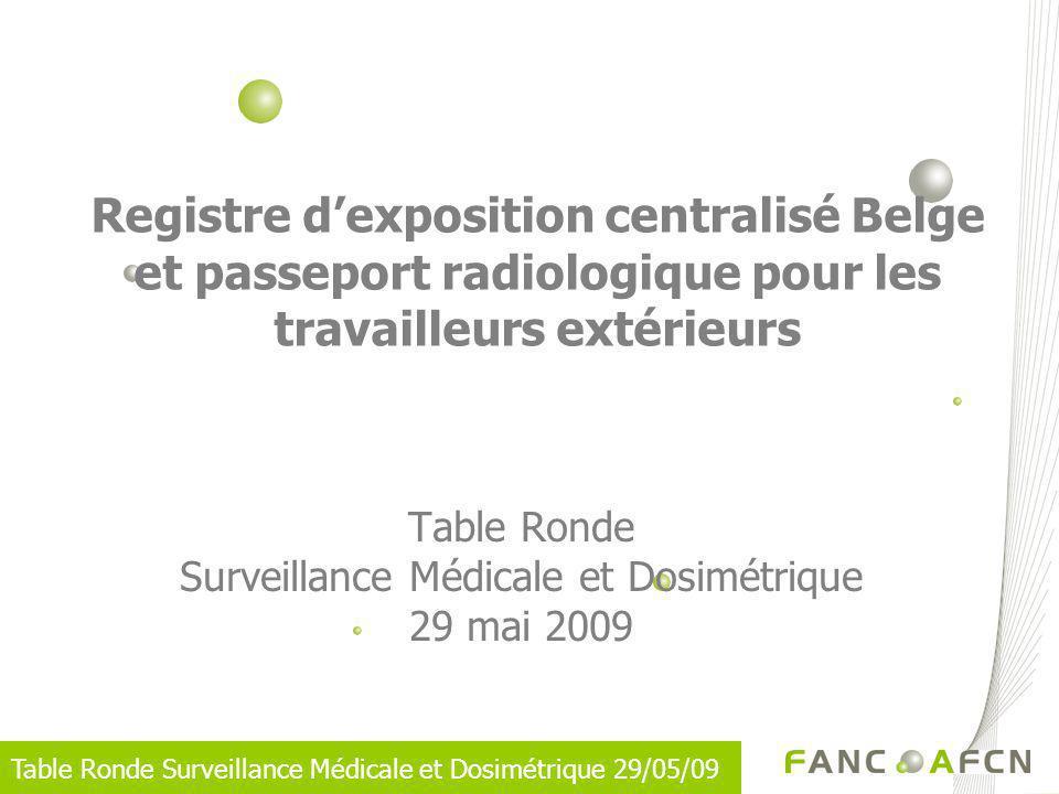Table Ronde Surveillance Médicale et Dosimétrique 29/05/09 Registre dexposition centralisé Belge et passeport radiologique pour les travailleurs extér