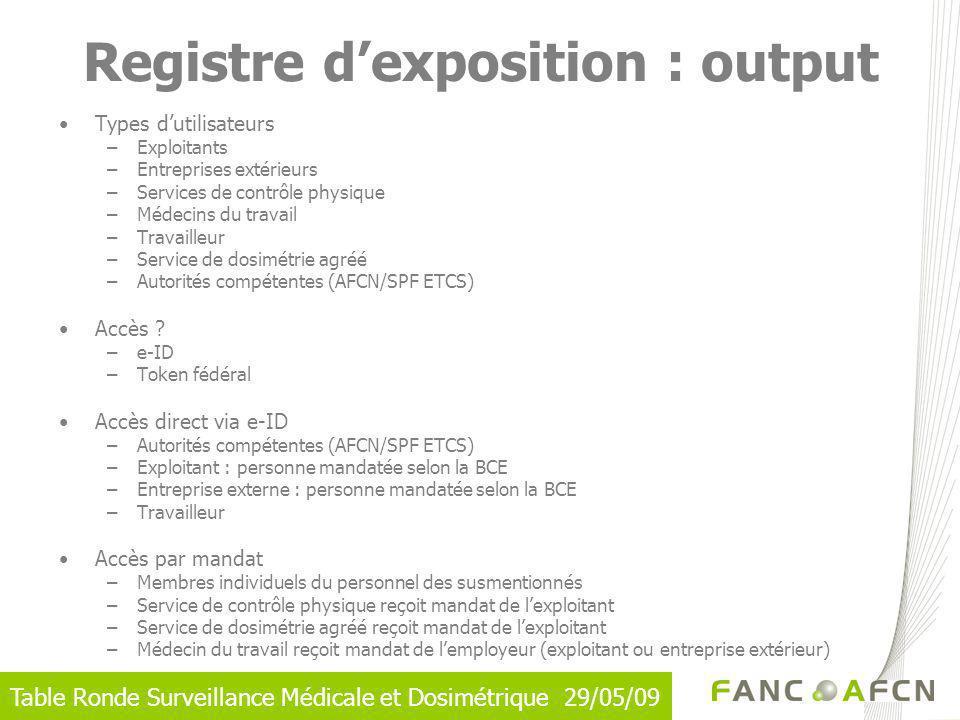 Table Ronde Surveillance Médicale et Dosimétrique 29/05/09 Registre dexposition : output Types dutilisateurs –Exploitants –Entreprises extérieurs –Ser
