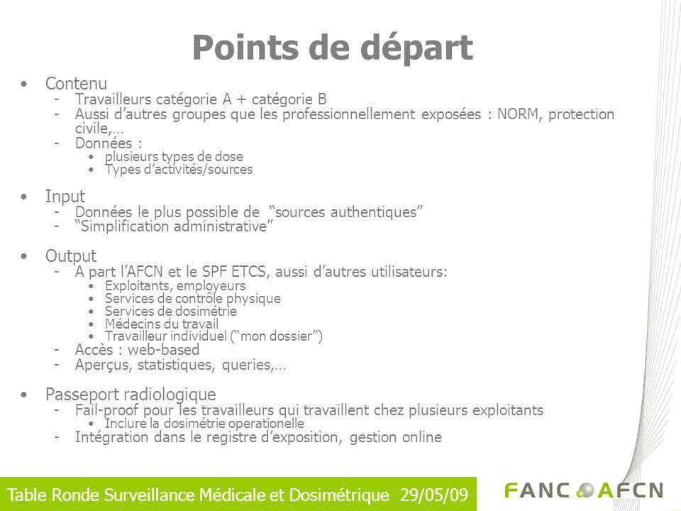Table Ronde Surveillance Médicale et Dosimétrique 29/05/09 Contenu -Travailleurs catégorie A + catégorie B -Aussi dautres groupes que les professionne