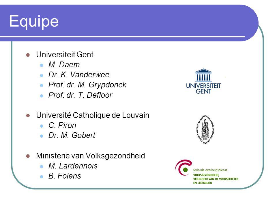 Equipe Universiteit Gent M. Daem Dr. K. Vanderwee Prof. dr. M. Grypdonck Prof. dr. T. Defloor Université Catholique de Louvain C. Piron Dr. M. Gobert