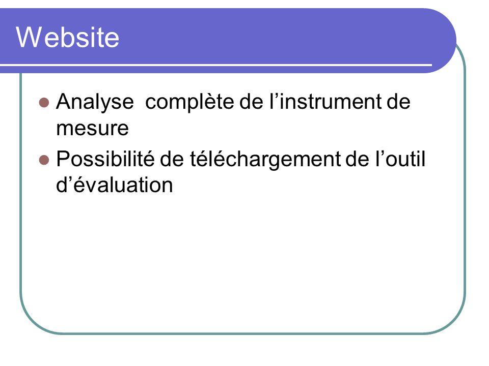 Website Analyse complète de linstrument de mesure Possibilité de téléchargement de loutil dévaluation