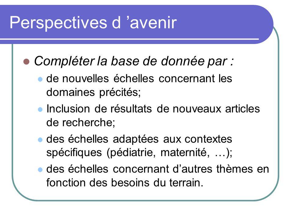 Perspectives d avenir Compléter la base de donnée par : de nouvelles échelles concernant les domaines précités; Inclusion de résultats de nouveaux art