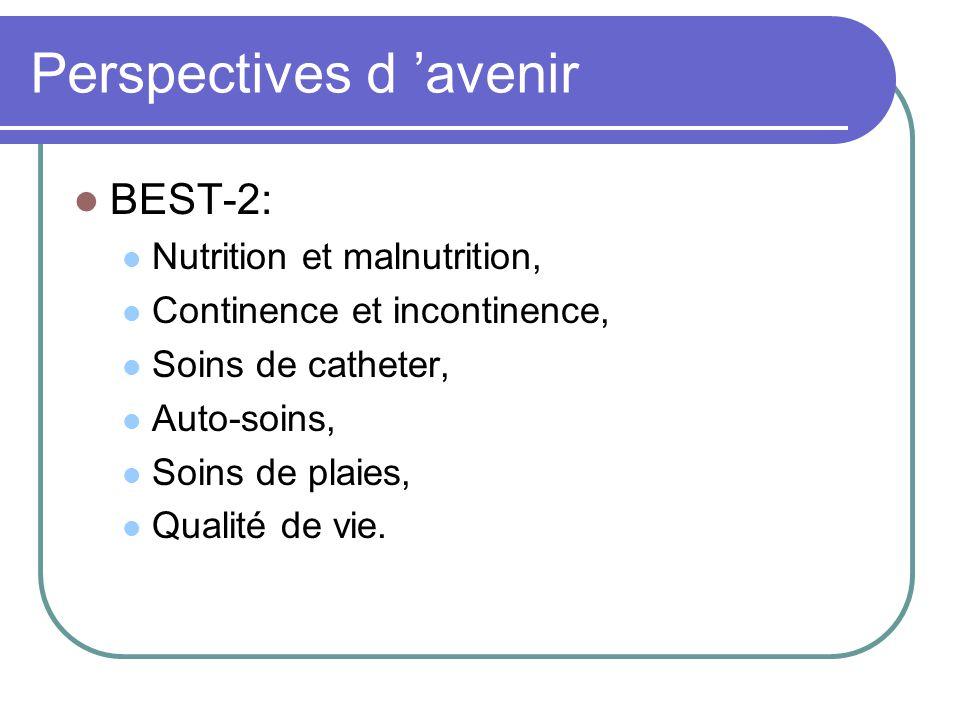 Perspectives d avenir BEST-2: Nutrition et malnutrition, Continence et incontinence, Soins de catheter, Auto-soins, Soins de plaies, Qualité de vie.