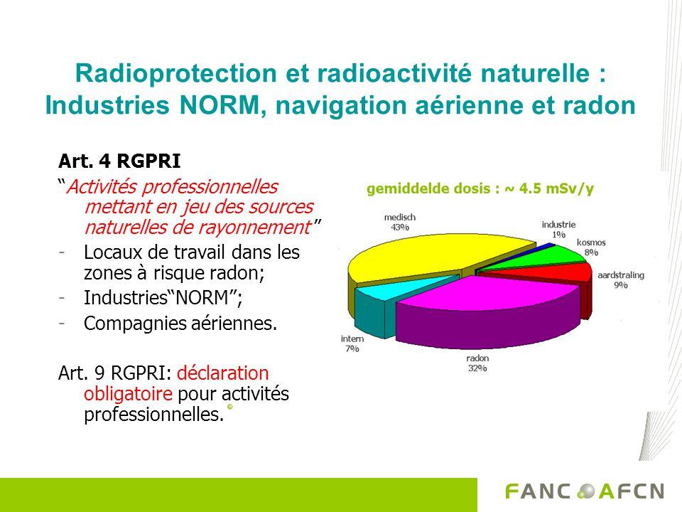 Radioprotection et radioactivité naturelle : Industries NORM, navigation aérienne et radon Art. 4 RGPRI Activités professionnelles mettant en jeu des