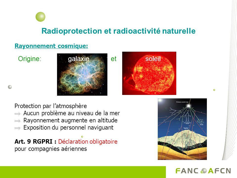 Radioprotection et radioactivité naturelle Rayonnement cosmique: Protection par latmosphère Aucun problème au niveau de la mer Rayonnement augmente en