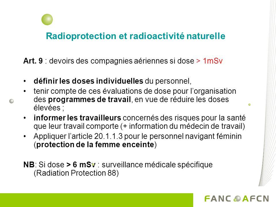 Radioprotection et radioactivité naturelle Art. 9 : devoirs des compagnies aériennes si dose > 1mSv définir les doses individuelles du personnel, teni