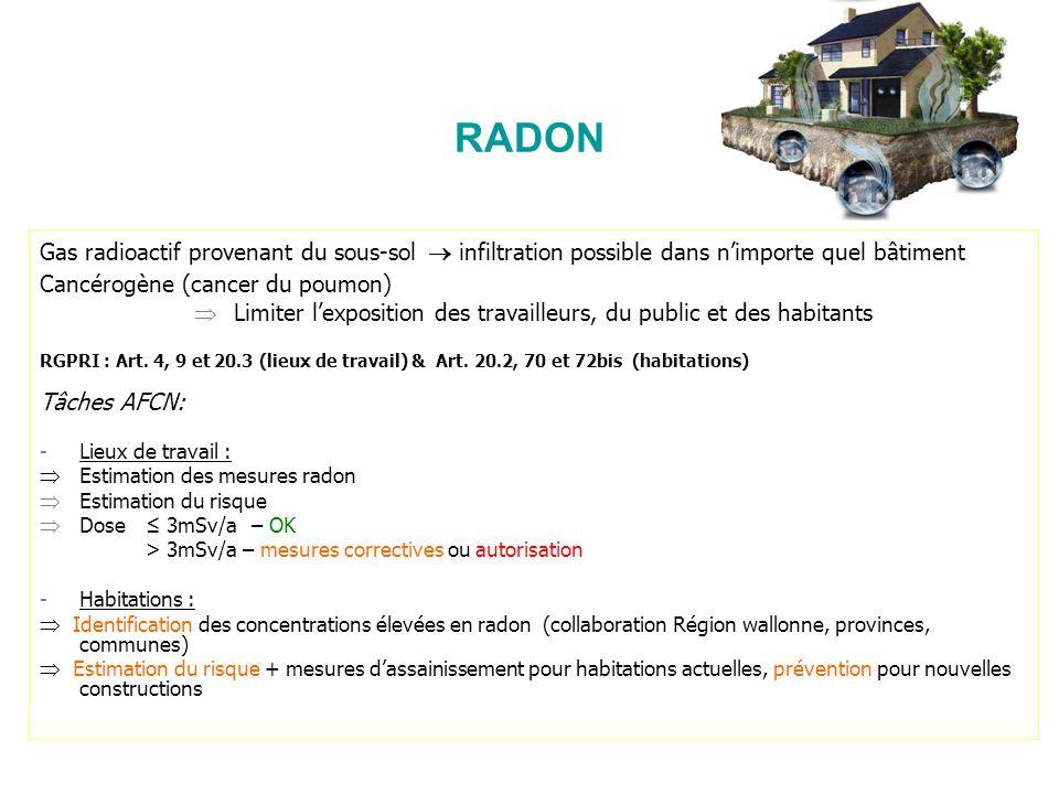 RADON Gas radioactif provenant du sous-sol infiltration possible dans nimporte quel bâtiment Cancérogène (cancer du poumon) Limiter lexposition des tr