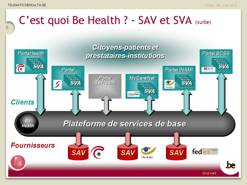 TELEMATICS@HEALTH.BE Friday, 06 June 2014 6 Plateforme de services de base Be Health SAVSAV Cest quoi Be Health .