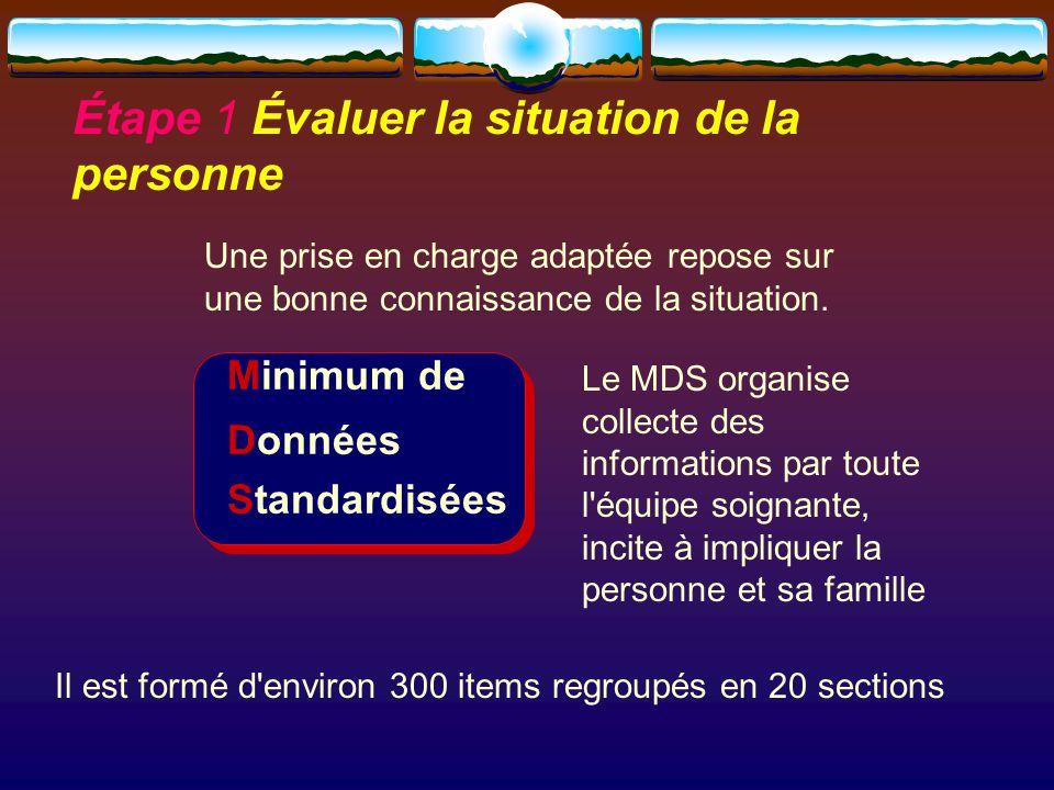 Minimum de Données Standardisées Une prise en charge adaptée repose sur une bonne connaissance de la situation. Étape 1 Évaluer la situation de la per