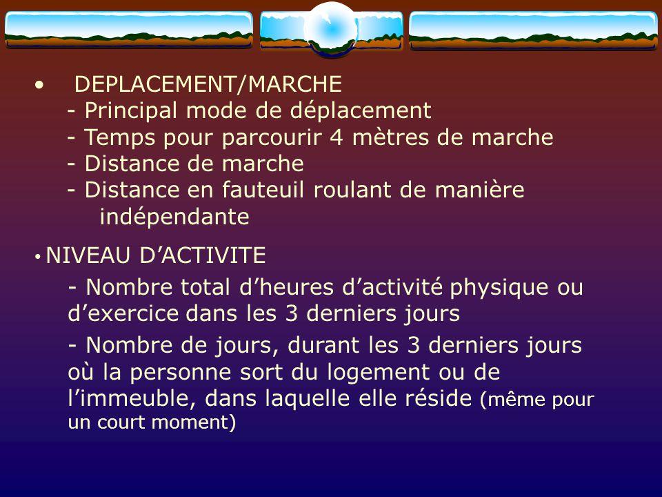 DEPLACEMENT/MARCHE - Principal mode de déplacement - Temps pour parcourir 4 mètres de marche - Distance de marche - Distance en fauteuil roulant de ma