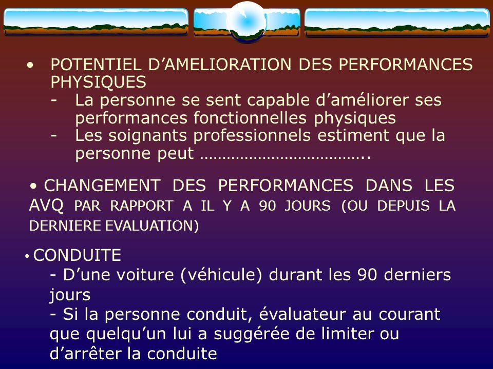 POTENTIEL DAMELIORATION DES PERFORMANCES PHYSIQUES -La personne se sent capable daméliorer ses performances fonctionnelles physiques -Les soignants pr