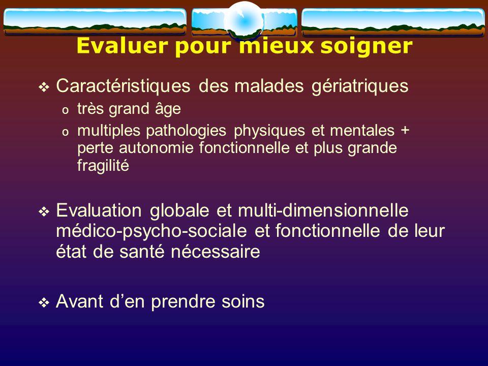 Evaluer pour mieux soigner Caractéristiques des malades gériatriques o très grand âge o multiples pathologies physiques et mentales + perte autonomie