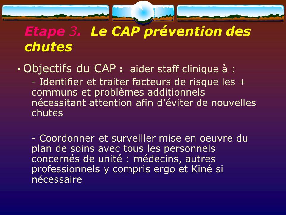 Objectifs du CAP : aider staff clinique à : - Identifier et traiter facteurs de risque les + communs et problèmes additionnels nécessitant attention a