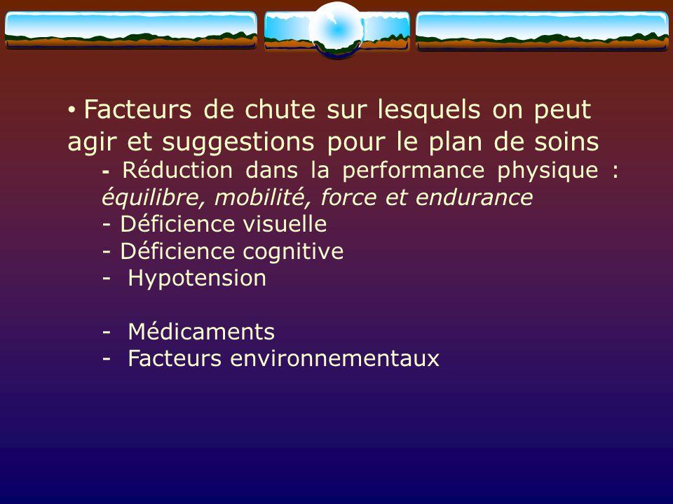Facteurs de chute sur lesquels on peut agir et suggestions pour le plan de soins - Réduction dans la performance physique : équilibre, mobilité, force