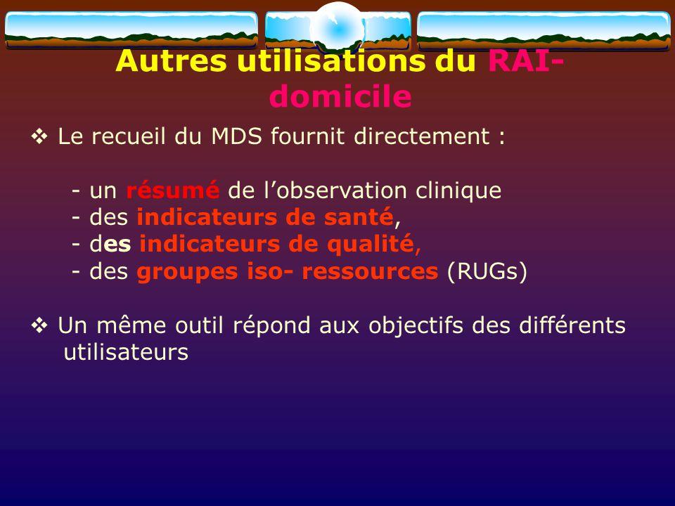 Autres utilisations du RAI- domicile Le recueil du MDS fournit directement : - un résumé de lobservation clinique - des indicateurs de santé, - des in