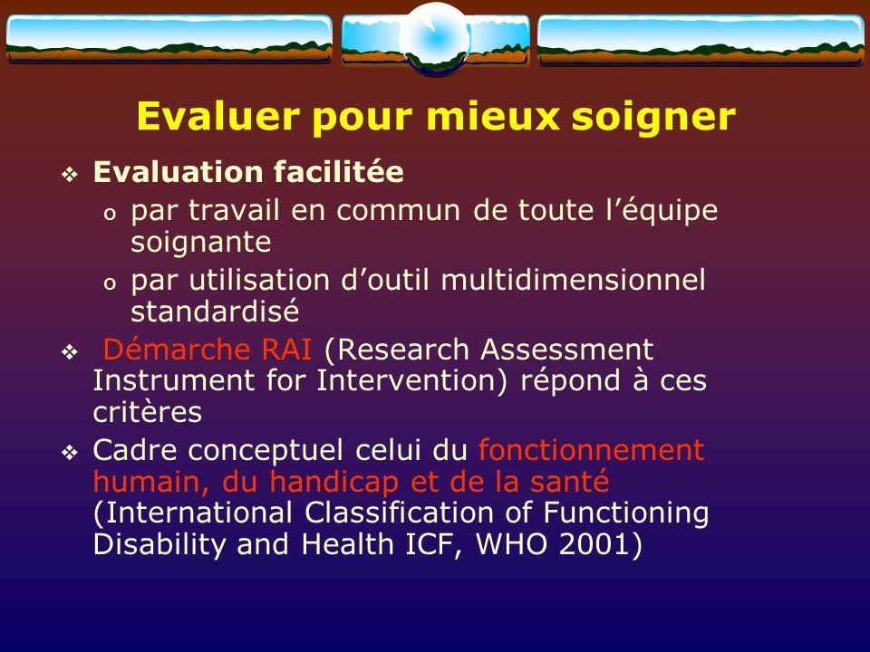 Evaluer pour mieux soigner Evaluation facilitée o par travail en commun de toute léquipe soignante o par utilisation doutil multidimensionnel standard