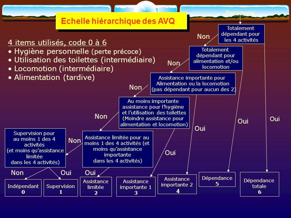 Echelle hiérarchique des AVQ Personne Indépendant 0 Supervision 1 Assistance limitée 2 Assistance importante 1 3 Assistance importante 2 4 Dépendance