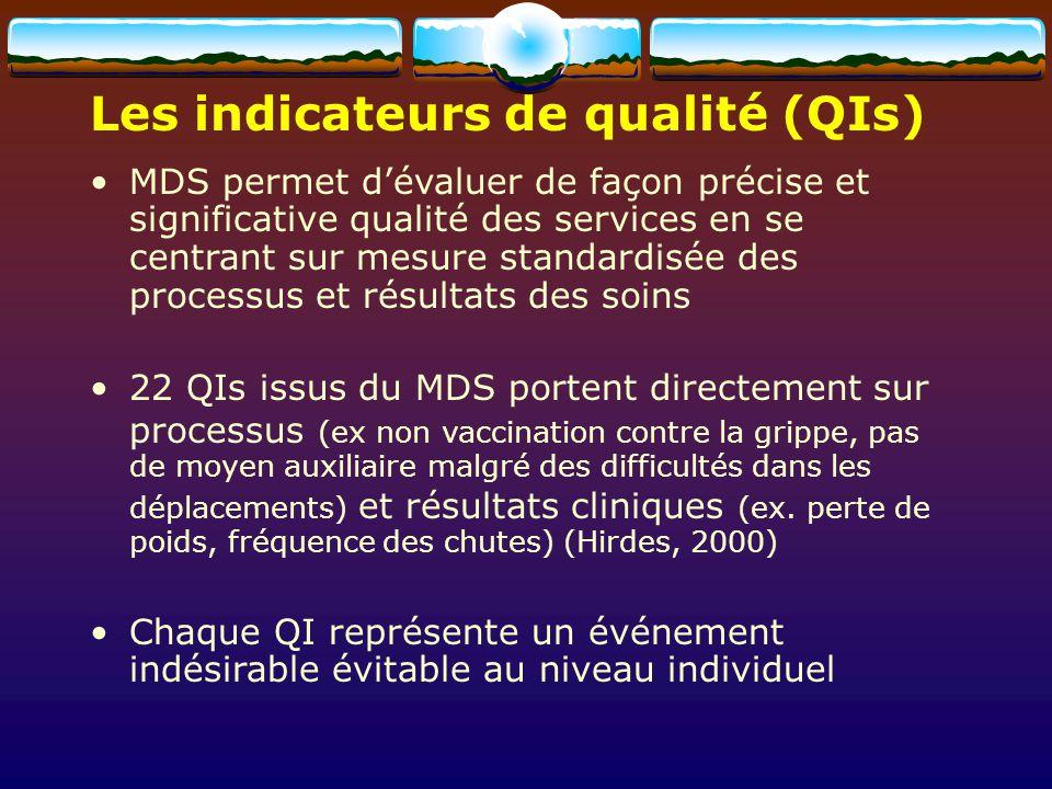 MDS permet dévaluer de façon précise et significative qualité des services en se centrant sur mesure standardisée des processus et résultats des soins