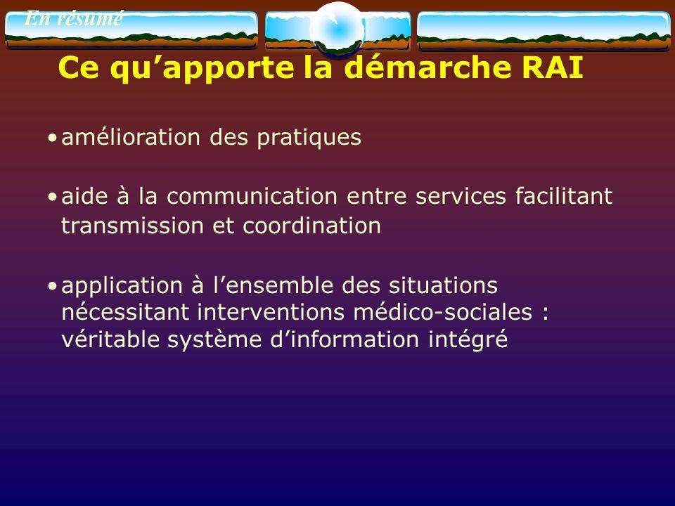 En résumé amélioration des pratiques aide à la communication entre services facilitant transmission et coordination application à lensemble des situat