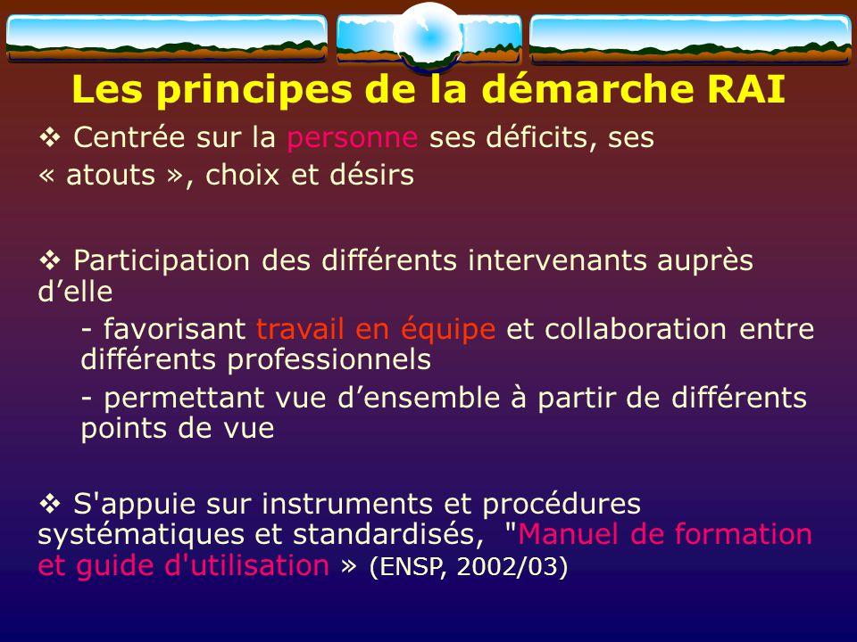 Les principes de la démarche RAI Centrée sur la personne ses déficits, ses « atouts », choix et désirs Participation des différents intervenants auprè