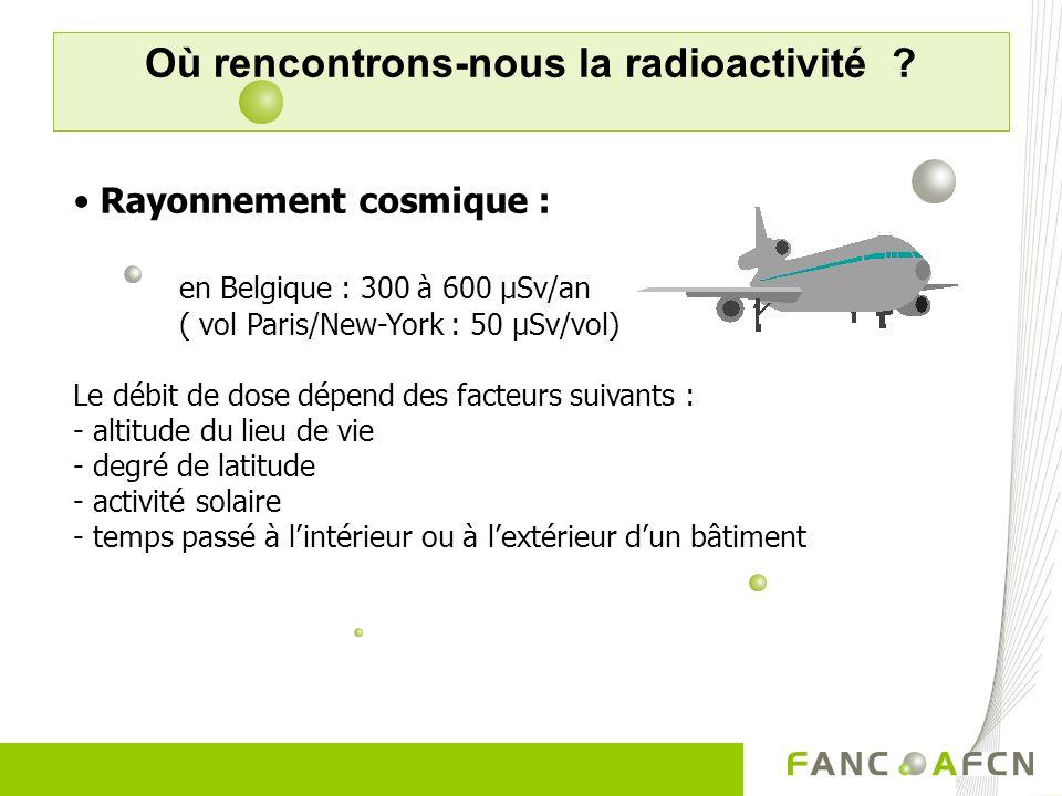 Où rencontrons-nous la radioactivité ? Radon (1500 µSv/jaar): edelgas – via ademhaling