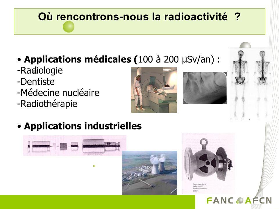 Radionucléides dans le corps K-40 = plus de la moitié Produits laitiers : 25 à 60 Bq/kg Poissons : 35 à 170 Bq/kg Légumes : 33 à 250 Bq/kg Fruits : 20