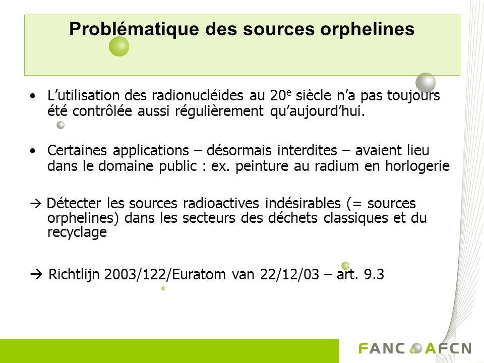 Problématique des sources orphelines Lutilisation des radionucléides au 20 e siècle na pas toujours été contrôlée aussi régulièrement quaujourdhui.