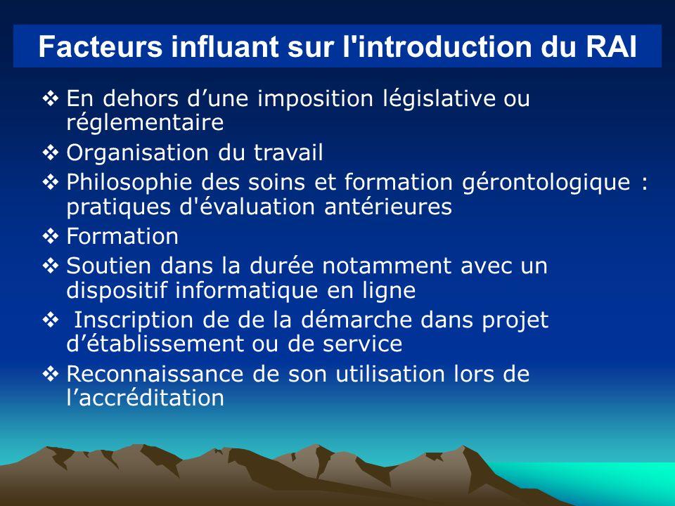 En dehors dune imposition législative ou réglementaire Organisation du travail Philosophie des soins et formation gérontologique : pratiques d'évaluat