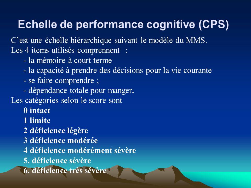 Echelle de performance cognitive (CPS) Cest une échelle hiérarchique suivant le modèle du MMS. Les 4 items utilisés comprennent : - la mémoire à court