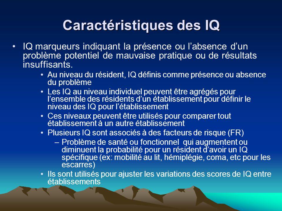 Caractéristiques des IQ IQ marqueurs indiquant la présence ou labsence dun problème potentiel de mauvaise pratique ou de résultats insuffisants. Au ni