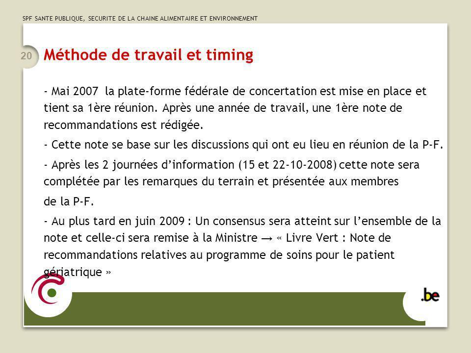 SPF SANTE PUBLIQUE, SECURITE DE LA CHAINE ALIMENTAIRE ET ENVIRONNEMENT 20 Méthode de travail et timing - Mai 2007 la plate-forme fédérale de concertat