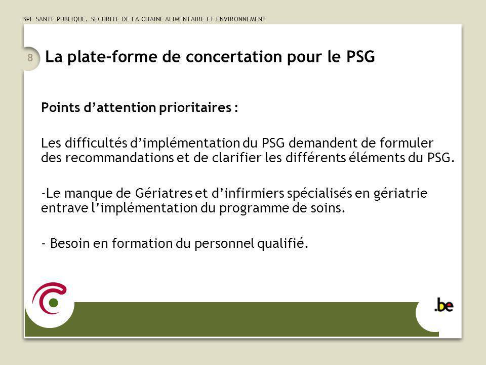 SPF SANTE PUBLIQUE, SECURITE DE LA CHAINE ALIMENTAIRE ET ENVIRONNEMENT 8 La plate-forme de concertation pour le PSG Points dattention prioritaires : L