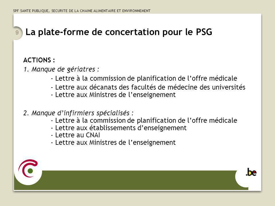 SPF SANTE PUBLIQUE, SECURITE DE LA CHAINE ALIMENTAIRE ET ENVIRONNEMENT 9 La plate-forme de concertation pour le PSG ACTIONS : 1. Manque de gériatres :