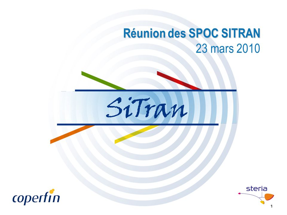 1 Réunion des SPOC SITRAN Réunion des SPOC SITRAN 23 mars 2010