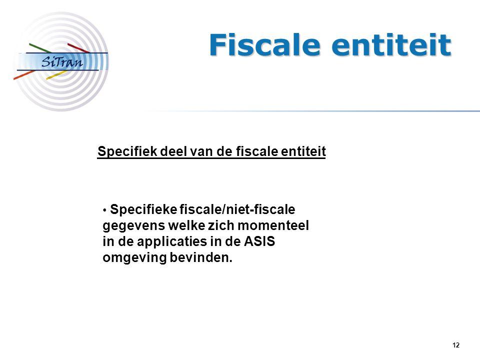 12 Specifiek deel van de fiscale entiteit Specifieke fiscale/niet-fiscale gegevens welke zich momenteel in de applicaties in de ASIS omgeving bevinden.