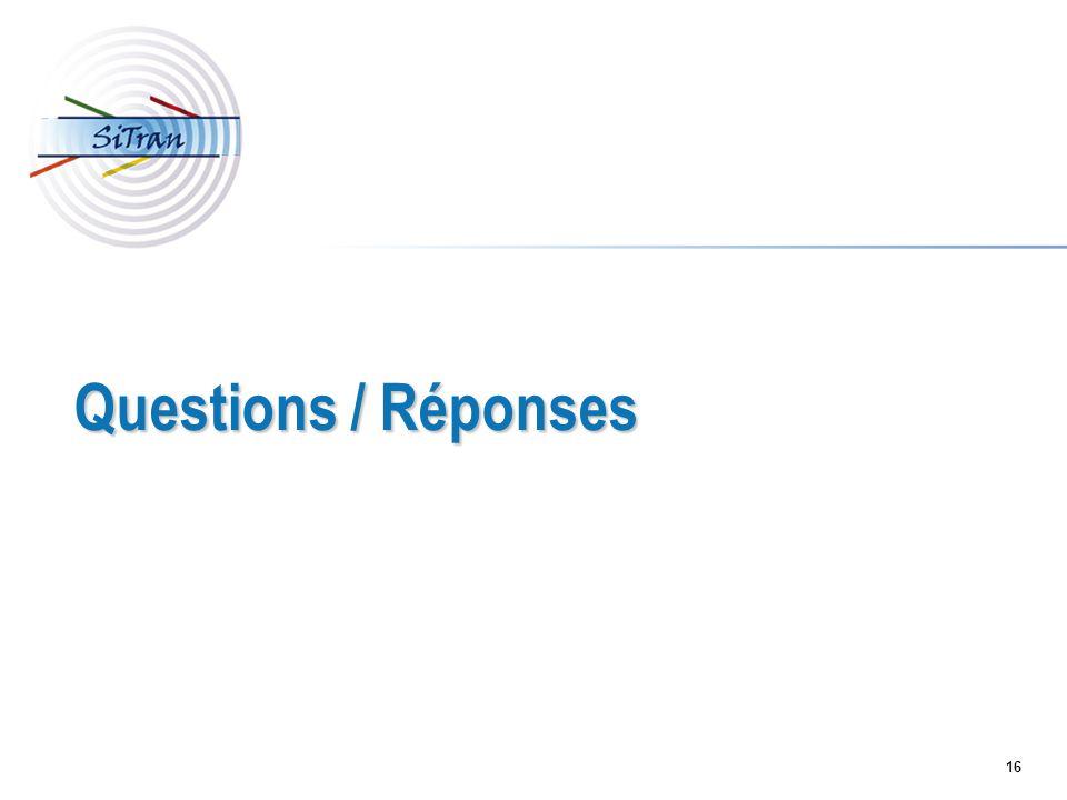 16 Questions / Réponses