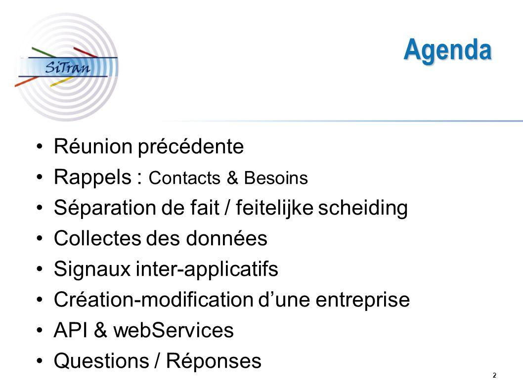 2 Agenda Réunion précédente Rappels : Contacts & Besoins Séparation de fait / feitelijke scheiding Collectes des données Signaux inter-applicatifs Cré