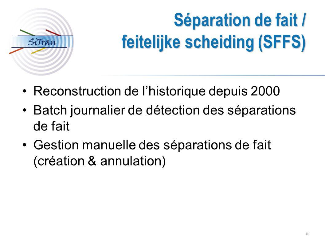 5 Séparation de fait / feitelijke scheiding (SFFS) Reconstruction de lhistorique depuis 2000 Batch journalier de détection des séparations de fait Ges