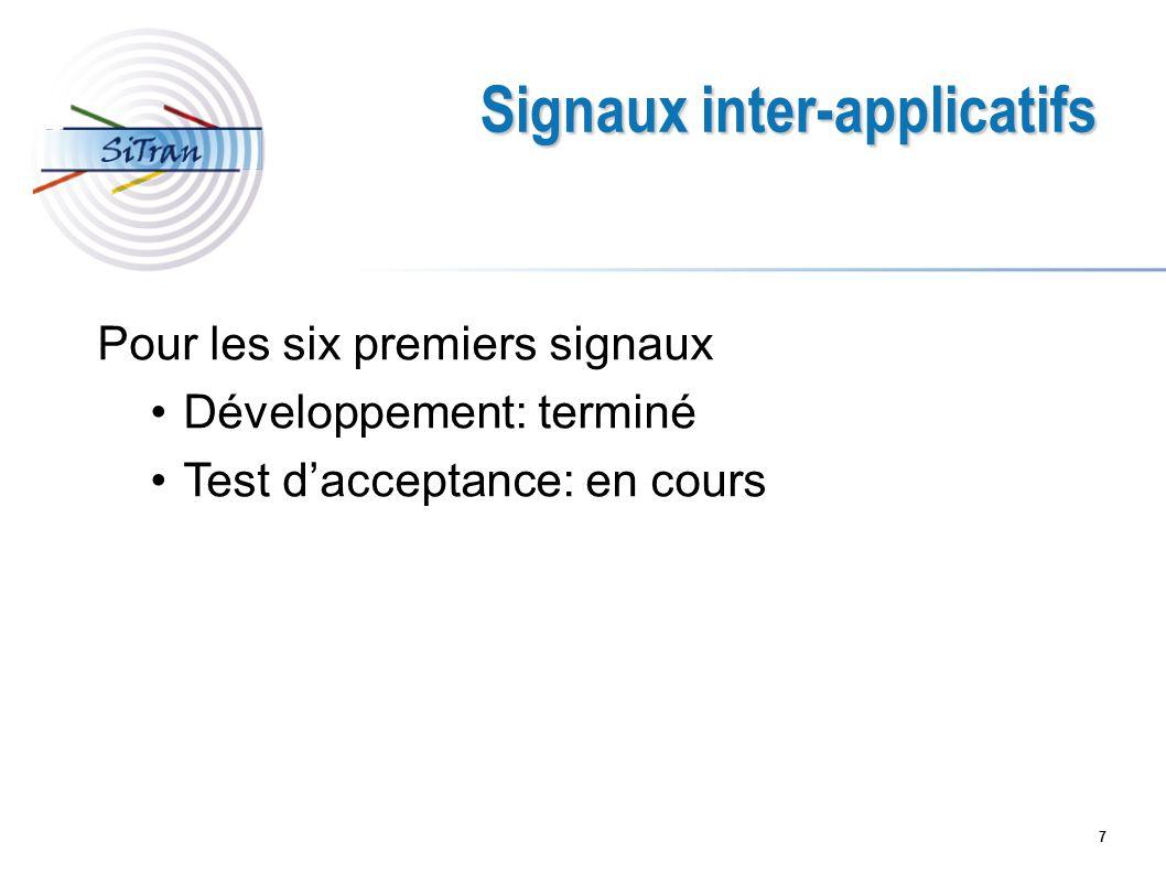 7 Signaux inter-applicatifs Pour les six premiers signaux Développement: terminé Test dacceptance: en cours
