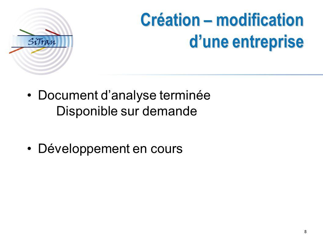 8 Création – modification dune entreprise Document danalyse terminée Disponible sur demande Développement en cours