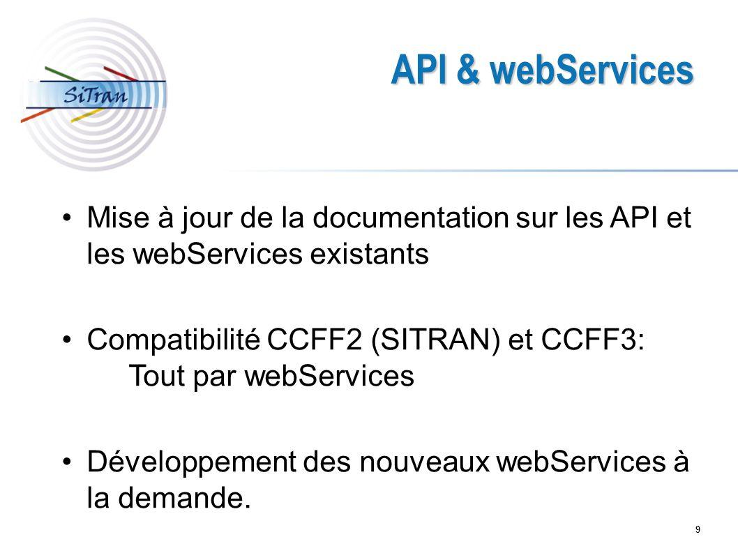 9 API & webServices Mise à jour de la documentation sur les API et les webServices existants Compatibilité CCFF2 (SITRAN) et CCFF3: Tout par webServic