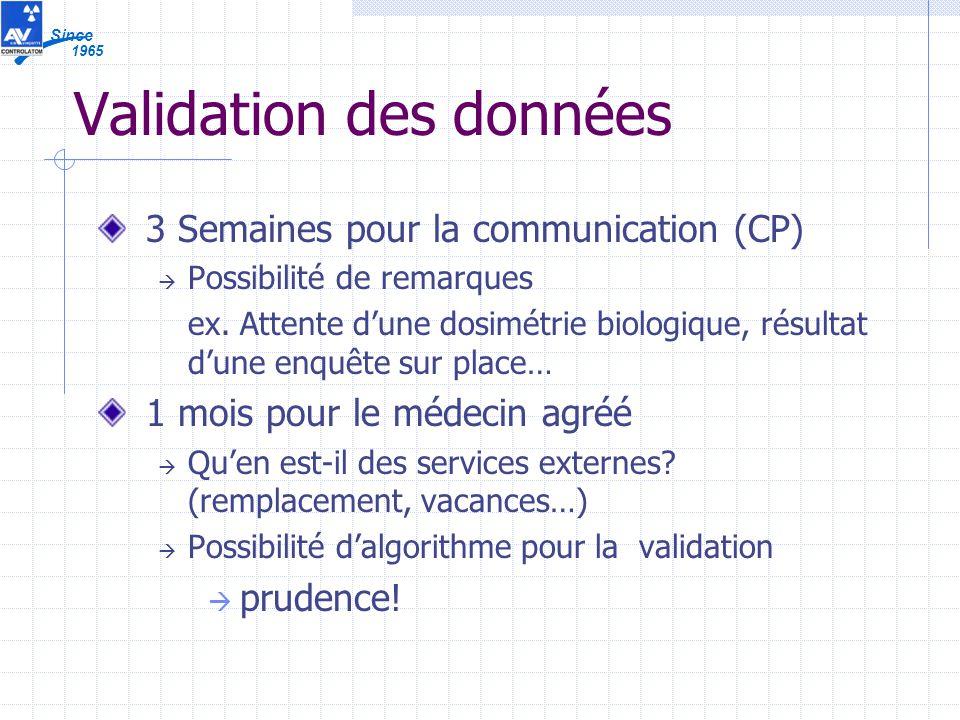 1965 Since Validation des données 3 Semaines pour la communication (CP) Possibilité de remarques ex.