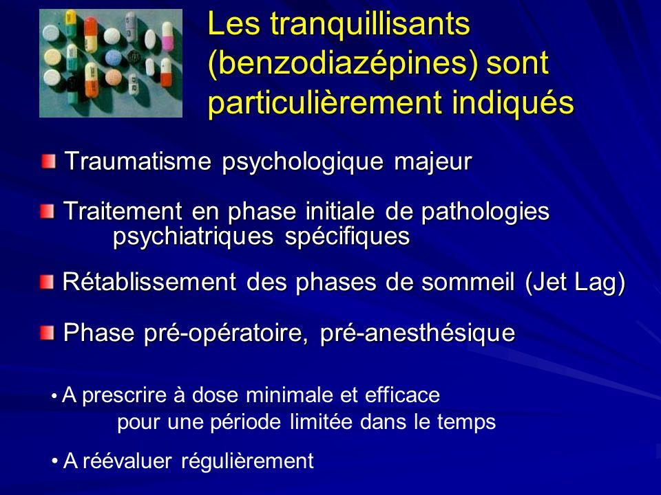Les tranquillisants (benzodiazépines) sont particulièrement indiqués Traumatisme psychologique majeur A prescrire à dose minimale et efficace pour une
