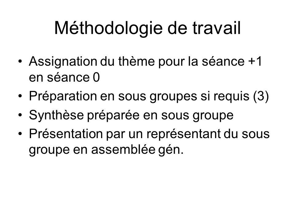 Méthodologie de travail Assignation du thème pour la séance +1 en séance 0 Préparation en sous groupes si requis (3) Synthèse préparée en sous groupe Présentation par un représentant du sous groupe en assemblée gén.