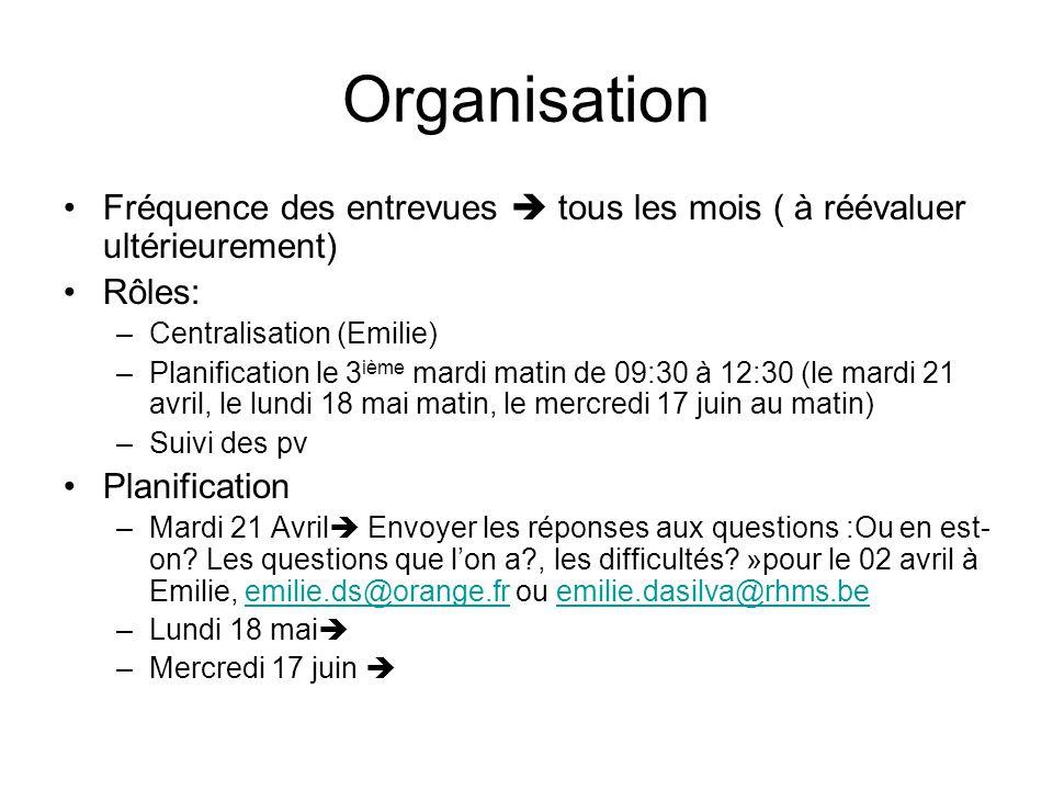Organisation Fréquence des entrevues tous les mois ( à réévaluer ultérieurement) Rôles: –Centralisation (Emilie) –Planification le 3 ième mardi matin