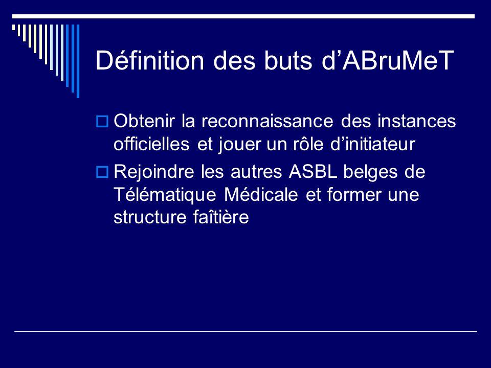 Définition des buts dABruMeT Obtenir la reconnaissance des instances officielles et jouer un rôle dinitiateur Rejoindre les autres ASBL belges de Télématique Médicale et former une structure faîtière
