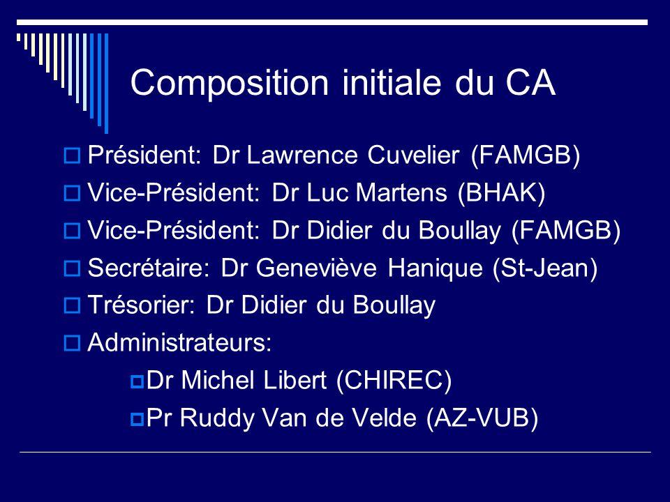 Composition initiale du CA Président: Dr Lawrence Cuvelier (FAMGB) Vice-Président: Dr Luc Martens (BHAK) Vice-Président: Dr Didier du Boullay (FAMGB) Secrétaire: Dr Geneviève Hanique (St-Jean) Trésorier: Dr Didier du Boullay Administrateurs: Dr Michel Libert (CHIREC) Pr Ruddy Van de Velde (AZ-VUB)