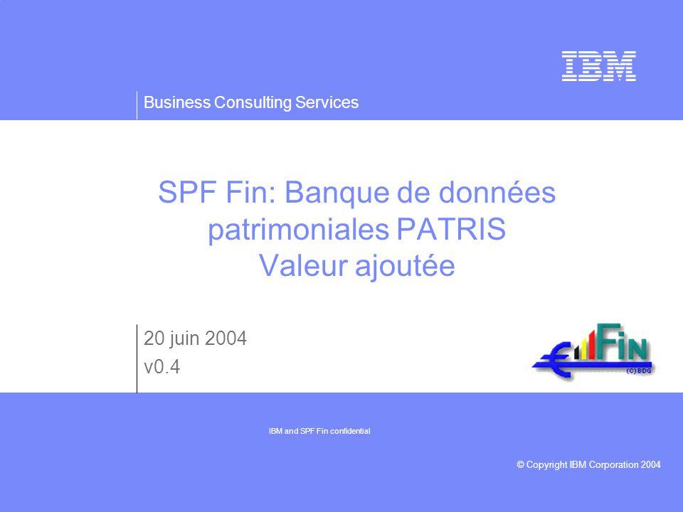 Business Consulting Services © Copyright IBM Corporation 2004 SPF Fin: Banque de données patrimoniales PATRIS Valeur ajoutée 20 juin 2004 v0.4 IBM and SPF Fin confidential